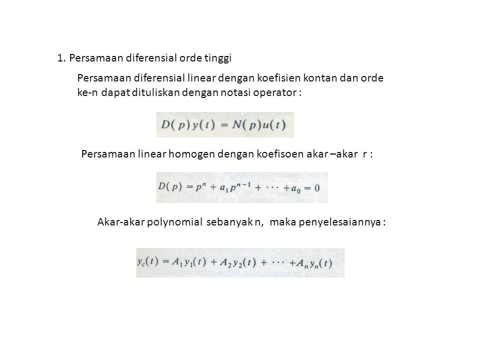 1. Persamaan diferensial orde tinggi Persamaan diferensial linear dengan koefisien kontan dan orde ke-n dapat dituliskan dengan notasi operator : Pers