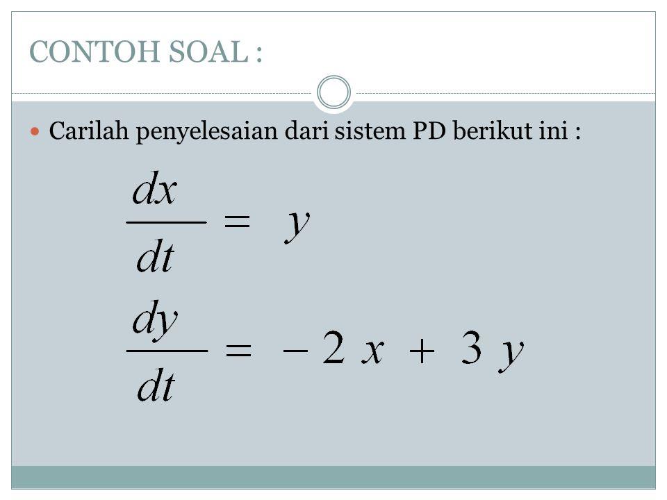 CONTOH SOAL : Carilah penyelesaian dari sistem PD berikut ini :