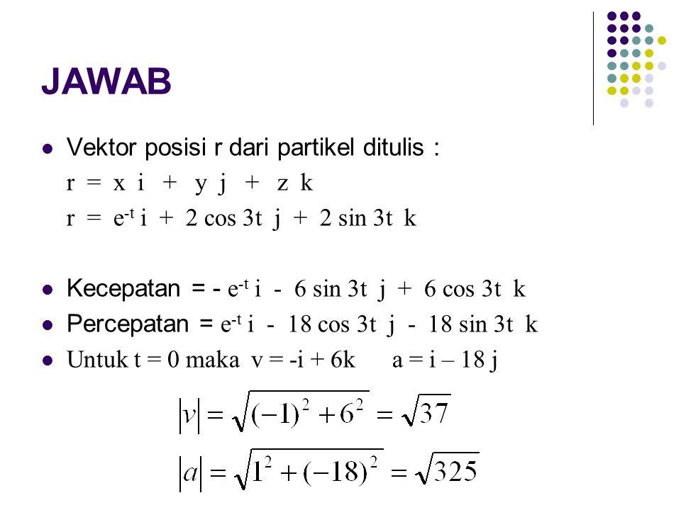 JAWAB Vektor posisi r dari partikel ditulis : r = x i + y j + z k r = e -t i + 2 cos 3t j + 2 sin 3t k Kecepatan = - e -t i - 6 sin 3t j + 6 cos 3t k Percepatan = e -t i - 18 cos 3t j - 18 sin 3t k Untuk t = 0 maka v = -i + 6k a = i – 18 j