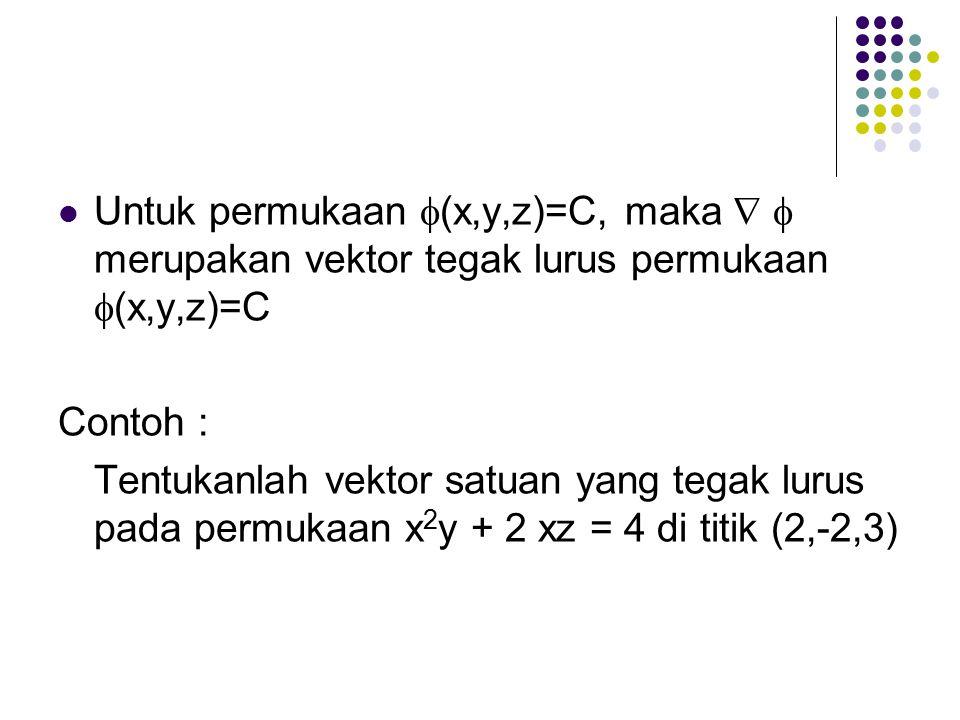 Untuk permukaan  (x,y,z)=C, maka   merupakan vektor tegak lurus permukaan  (x,y,z)=C Contoh : Tentukanlah vektor satuan yang tegak lurus pada permukaan x 2 y + 2 xz = 4 di titik (2,-2,3)