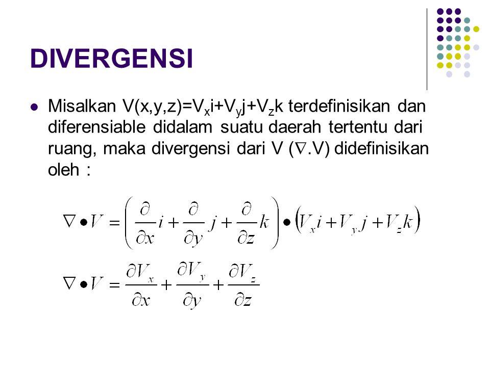 DIVERGENSI Misalkan V(x,y,z)=V x i+V y j+V z k terdefinisikan dan diferensiable didalam suatu daerah tertentu dari ruang, maka divergensi dari V ( .V) didefinisikan oleh :