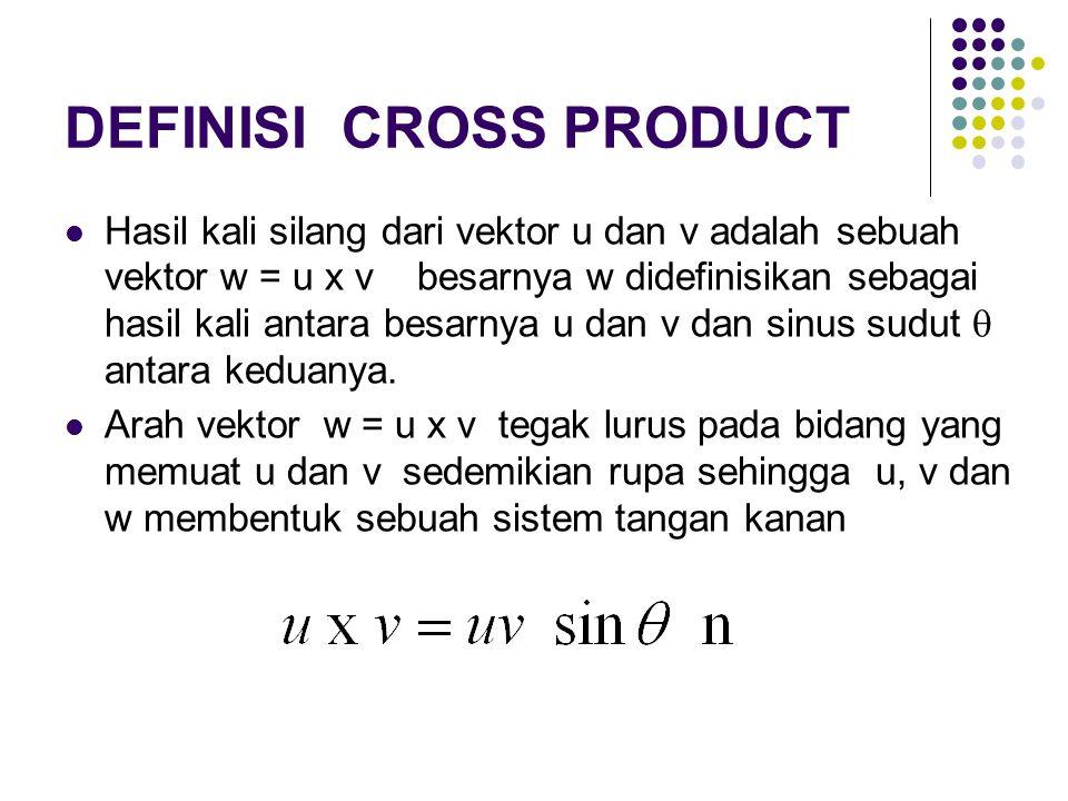 DEFINISI CROSS PRODUCT Hasil kali silang dari vektor u dan v adalah sebuah vektor w = u x v besarnya w didefinisikan sebagai hasil kali antara besarnya u dan v dan sinus sudut  antara keduanya.
