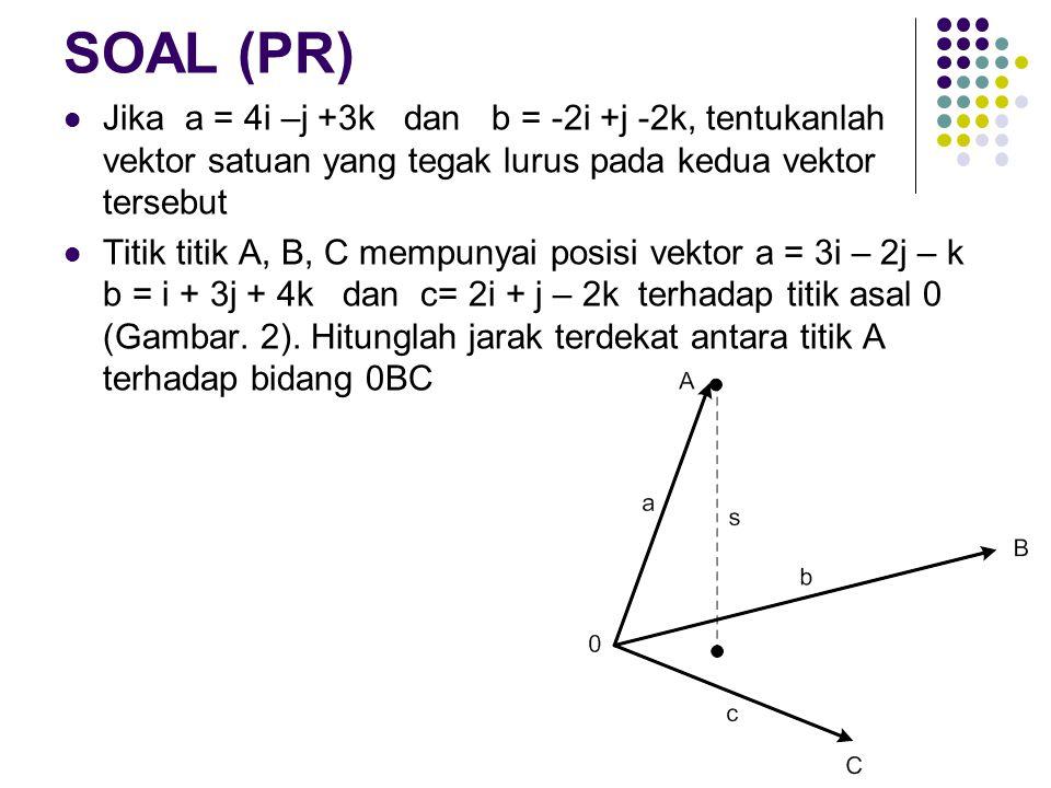 SOAL (PR) Jika a = 4i –j +3k dan b = -2i +j -2k, tentukanlah vektor satuan yang tegak lurus pada kedua vektor tersebut Titik titik A, B, C mempunyai posisi vektor a = 3i – 2j – k b = i + 3j + 4k dan c= 2i + j – 2k terhadap titik asal 0 (Gambar.