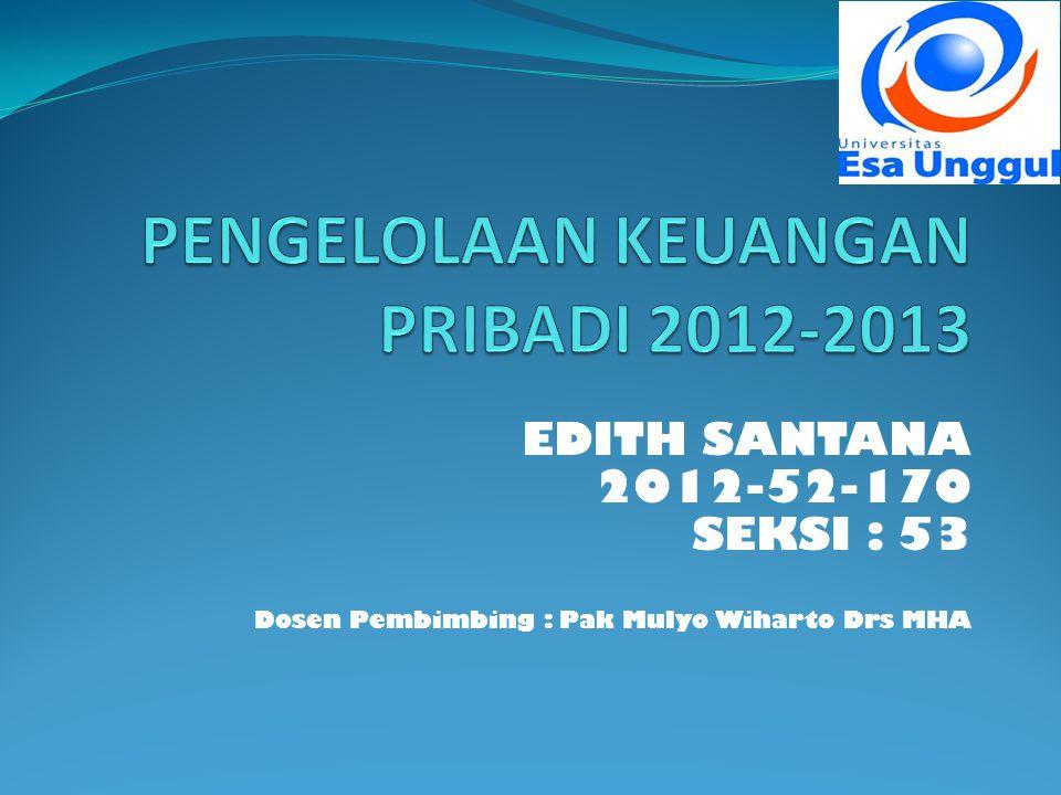 EDITH SANTANA 2012-52-170 SEKSI : 53 Dosen Pembimbing : Pak Mulyo Wiharto Drs MHA