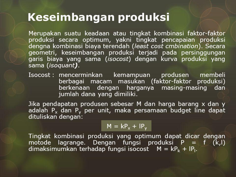 Keseimbangan produksi Merupakan suatu keadaan atau tingkat kombinasi faktor-faktor produksi secara optimum, yakni tingkat pencapaian produksi dengna k