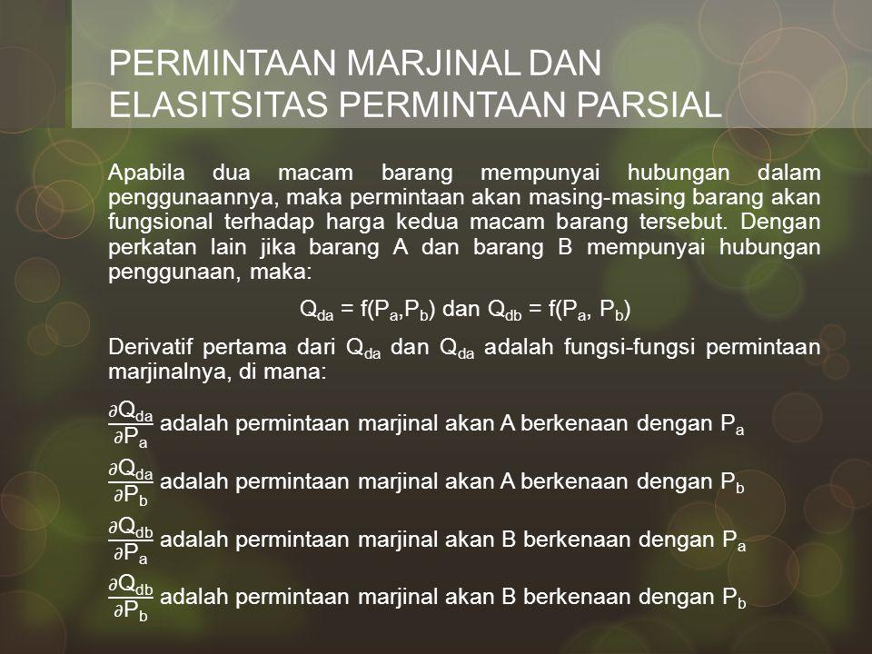PERMINTAAN MARJINAL DAN ELASITSITAS PERMINTAAN PARSIAL