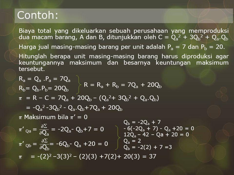Contoh: R = R a + R b = 7Q a + 20Q b Q b = -2Q a + 7 - 6(-2Q a + 7) - Q a +20 = 0 12Q a – 42 – Qa + 20 = 0 Q a = 2 Q b = -2(2) + 7 =3