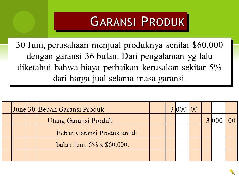 G ARANSI P RODUK 30 Juni, perusahaan menjual produknya senilai $60,000 dengan garansi 36 bulan. Dari pengalaman yg lalu diketahui bahwa biaya perbaika