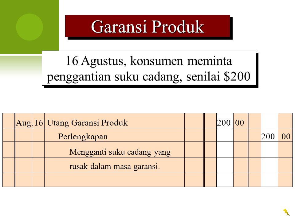 16 Agustus, konsumen meminta penggantian suku cadang, senilai $200 Aug.16Utang Garansi Produk200 00 Mengganti suku cadang yang rusak dalam masa garans