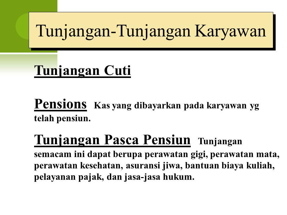 Tunjangan-Tunjangan Karyawan Tunjangan Cuti Pensions Kas yang dibayarkan pada karyawan yg telah pensiun. Tunjangan Pasca Pensiun Tunjangan semacam ini