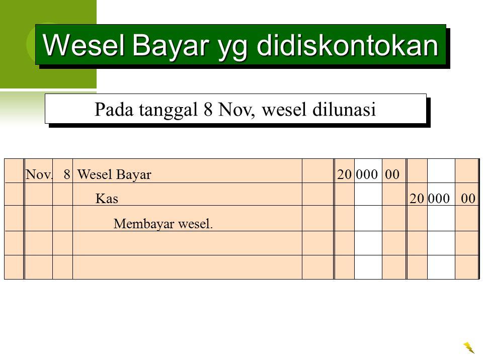 Wesel Bayar yg didiskontokan Nov. 8Wesel Bayar20 000 00 Membayar wesel. Kas 20 000 00 Pada tanggal 8 Nov, wesel dilunasi