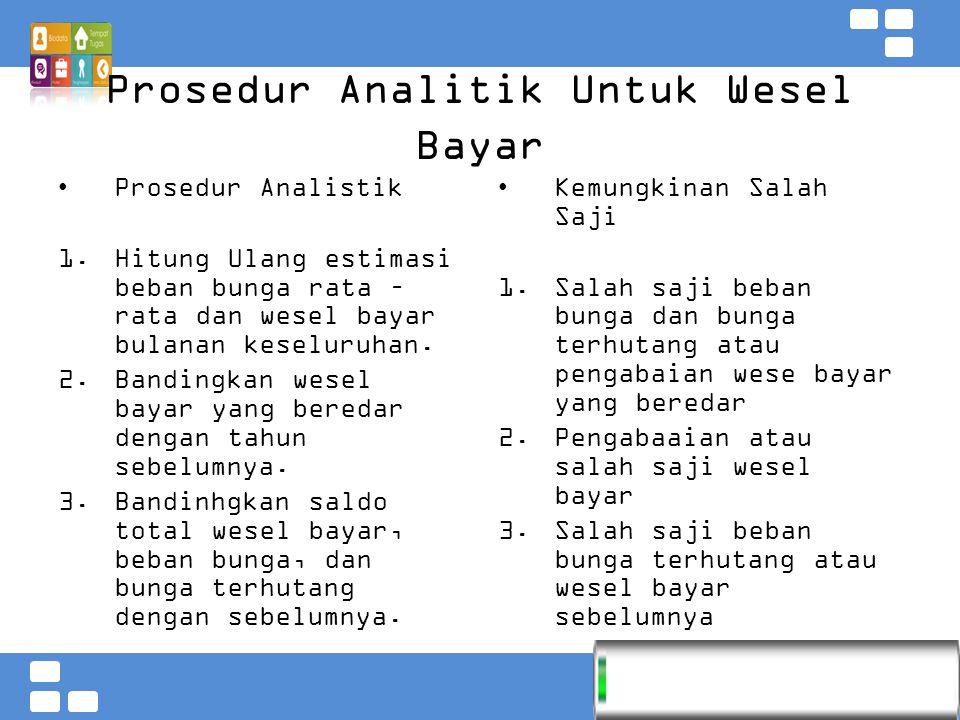 Kementerian Pendidikan dan Kebudayaan Badan PSDMPK dan PMP Prosedur Analitik Untuk Wesel Bayar Prosedur Analistik  Hitung Ulang estimasi beban bunga