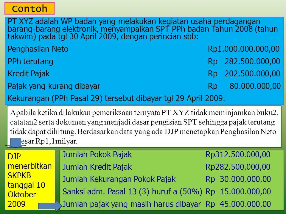 Contoh PT XYZ adalah WP badan yang melakukan kegiatan usaha perdagangan barang-barang elektronik, menyampaikan SPT PPh badan Tahun 2008 (tahun takwim) pada tgl 30 April 2009, dengan perincian sbb: Penghasilan NetoRp1.000.000.000,00 PPh terutangRp 282.500.000,00 Kredit PajakRp 202.500.000,00 Pajak yang kurang dibayarRp 80.000.000,00 Kekurangan (PPh Pasal 29) tersebut dibayar tgl 29 April 2009.