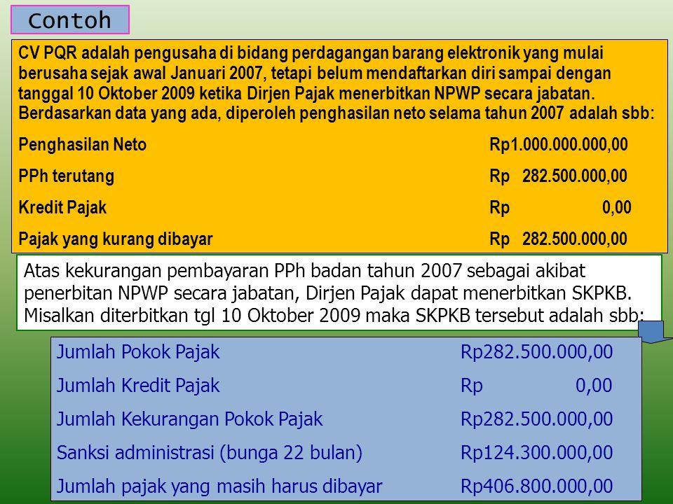Contoh CV PQR adalah pengusaha di bidang perdagangan barang elektronik yang mulai berusaha sejak awal Januari 2007, tetapi belum mendaftarkan diri sampai dengan tanggal 10 Oktober 2009 ketika Dirjen Pajak menerbitkan NPWP secara jabatan.