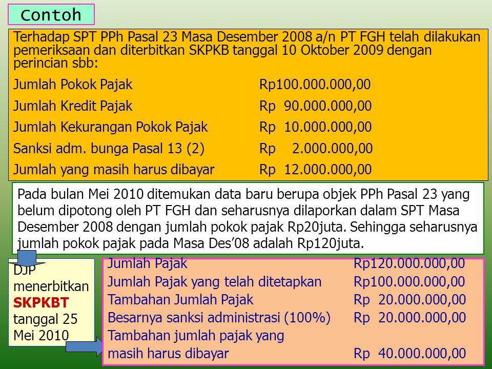 Contoh Terhadap SPT PPh Pasal 23 Masa Desember 2008 a/n PT FGH telah dilakukan pemeriksaan dan diterbitkan SKPKB tanggal 10 Oktober 2009 dengan perinc