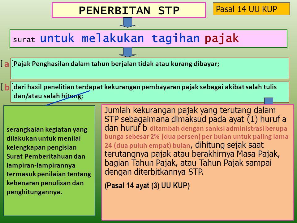 PENERBITAN STP Pasal 14 UU KUP surat untuk melakukan tagihan pajak Pajak Penghasilan dalam tahun berjalan tidak atau kurang dibayar; dari hasil peneli