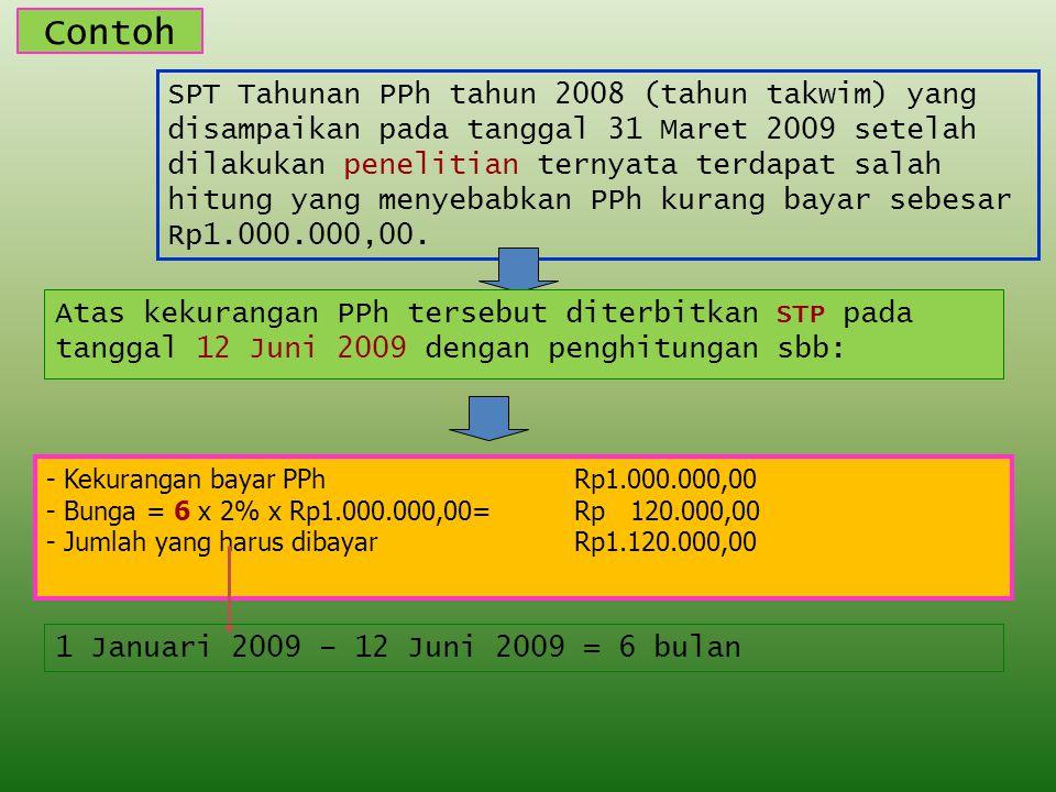 Contoh SPT Tahunan PPh tahun 2008 (tahun takwim) yang disampaikan pada tanggal 31 Maret 2009 setelah dilakukan penelitian ternyata terdapat salah hitung yang menyebabkan PPh kurang bayar sebesar Rp1.000.000,00.