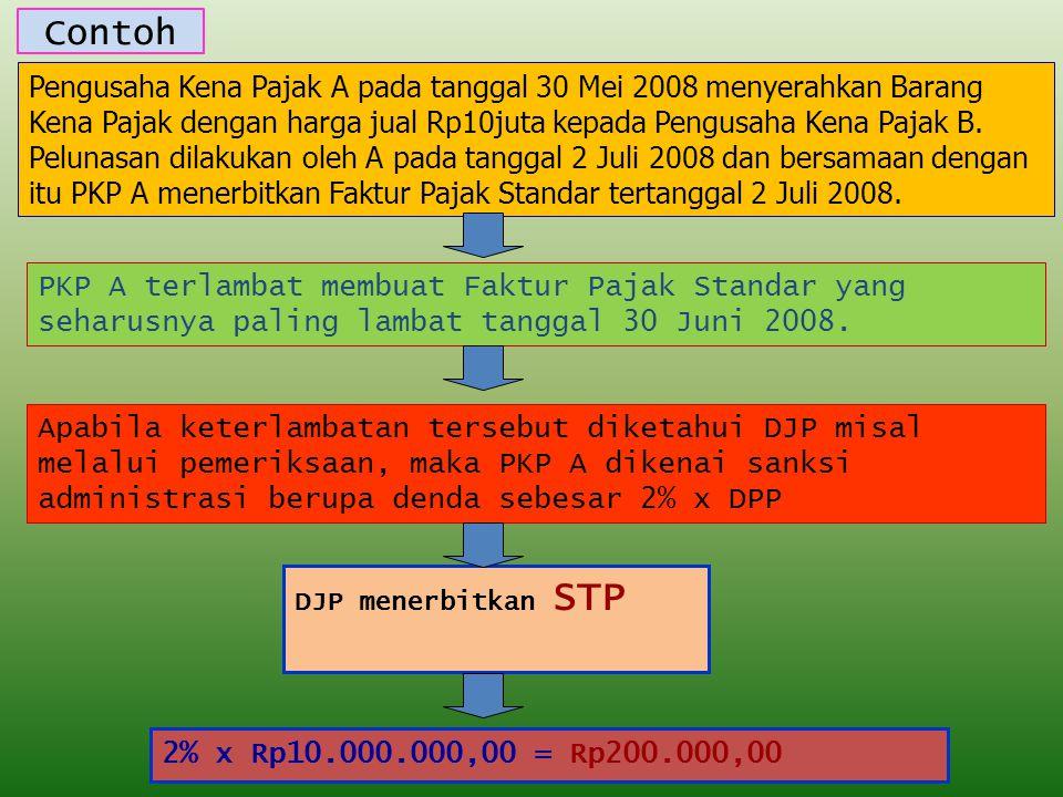 Contoh Pengusaha Kena Pajak A pada tanggal 30 Mei 2008 menyerahkan Barang Kena Pajak dengan harga jual Rp10juta kepada Pengusaha Kena Pajak B.