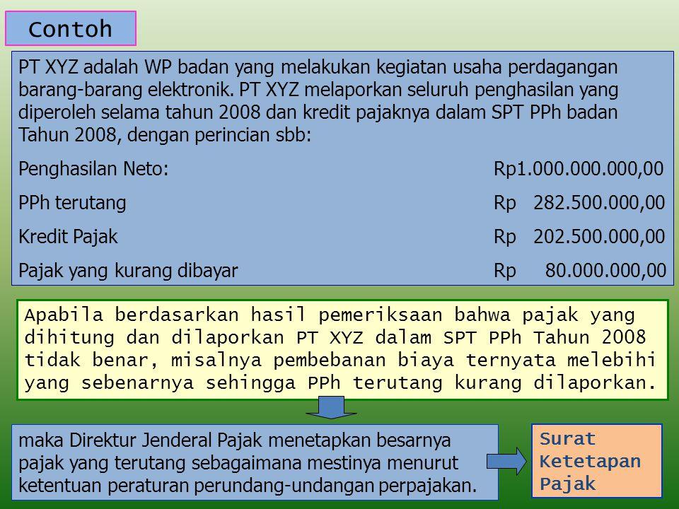 Contoh PT XYZ adalah WP badan yang melakukan kegiatan usaha perdagangan barang-barang elektronik. PT XYZ melaporkan seluruh penghasilan yang diperoleh