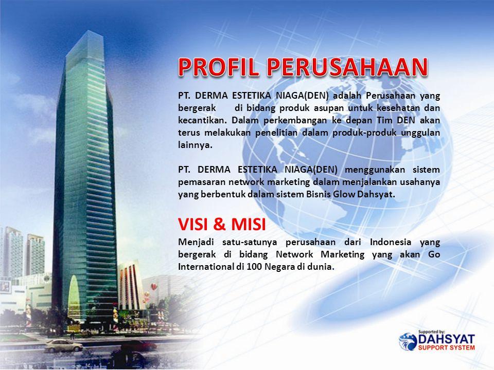 PT. DERMA ESTETIKA NIAGA(DEN) adalah Perusahaan yang bergerak di bidang produk asupan untuk kesehatan dan kecantikan. Dalam perkembangan ke depan Tim