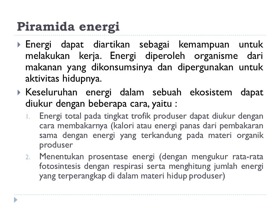 Piramida energi  Energi dapat diartikan sebagai kemampuan untuk melakukan kerja. Energi diperoleh organisme dari makanan yang dikonsumsinya dan diper