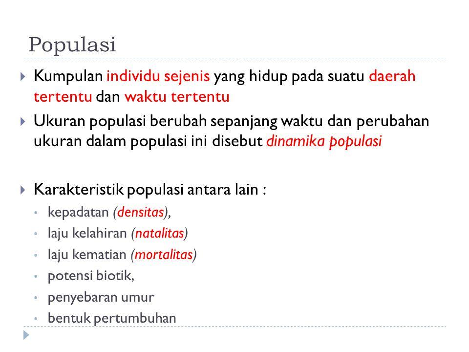  Dinamika populasi dapat juga disebabkan oleh : a.