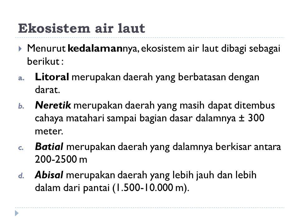 Ekosistem air laut  Menurut kedalamannya, ekosistem air laut dibagi sebagai berikut : a. Litoral merupakan daerah yang berbatasan dengan darat. b. Ne