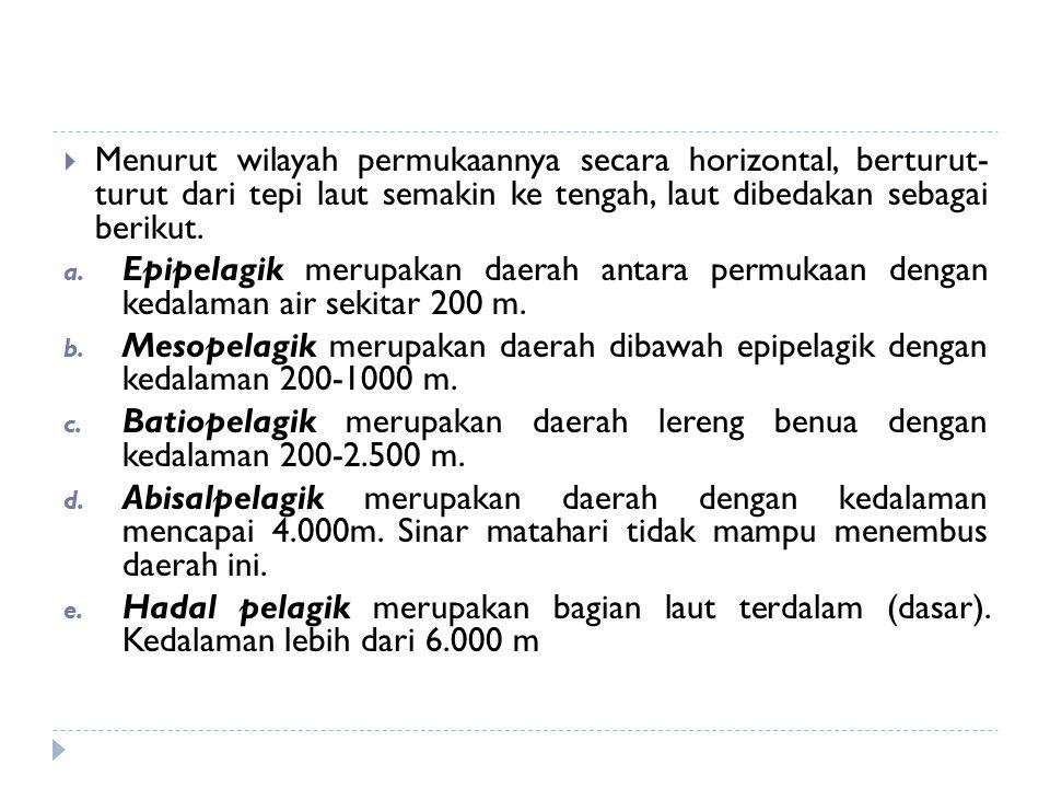  Menurut wilayah permukaannya secara horizontal, berturut- turut dari tepi laut semakin ke tengah, laut dibedakan sebagai berikut. a. Epipelagik meru