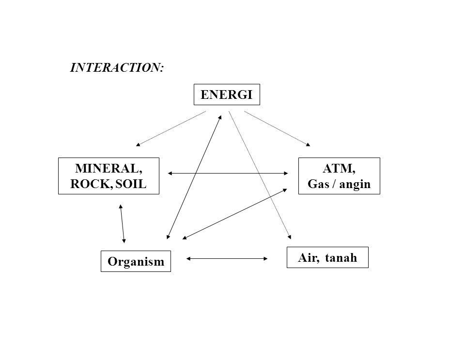 INTERACTION: ENERGI MINERAL, ROCK, SOIL ATM, Gas / angin Air, tanah Organism