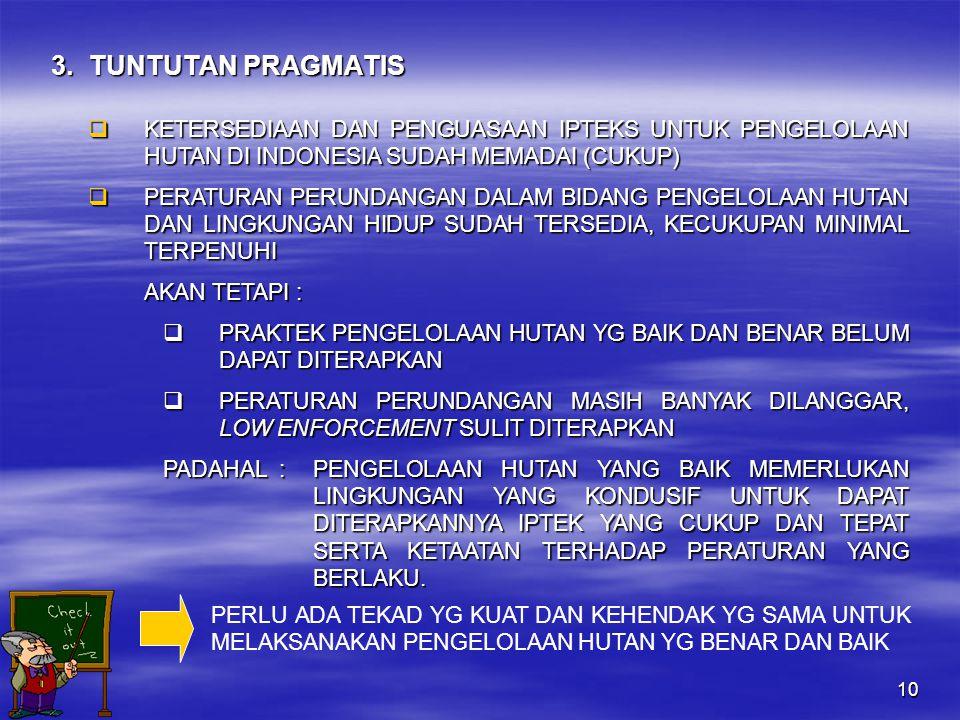 10 3.TUNTUTAN PRAGMATIS  KETERSEDIAAN DAN PENGUASAAN IPTEKS UNTUK PENGELOLAAN HUTAN DI INDONESIA SUDAH MEMADAI (CUKUP)  PERATURAN PERUNDANGAN DALAM BIDANG PENGELOLAAN HUTAN DAN LINGKUNGAN HIDUP SUDAH TERSEDIA, KECUKUPAN MINIMAL TERPENUHI AKAN TETAPI :  PRAKTEK PENGELOLAAN HUTAN YG BAIK DAN BENAR BELUM DAPAT DITERAPKAN  PERATURAN PERUNDANGAN MASIH BANYAK DILANGGAR, LOW ENFORCEMENT SULIT DITERAPKAN PADAHAL :PENGELOLAAN HUTAN YANG BAIK MEMERLUKAN LINGKUNGAN YANG KONDUSIF UNTUK DAPAT DITERAPKANNYA IPTEK YANG CUKUP DAN TEPAT SERTA KETAATAN TERHADAP PERATURAN YANG BERLAKU.