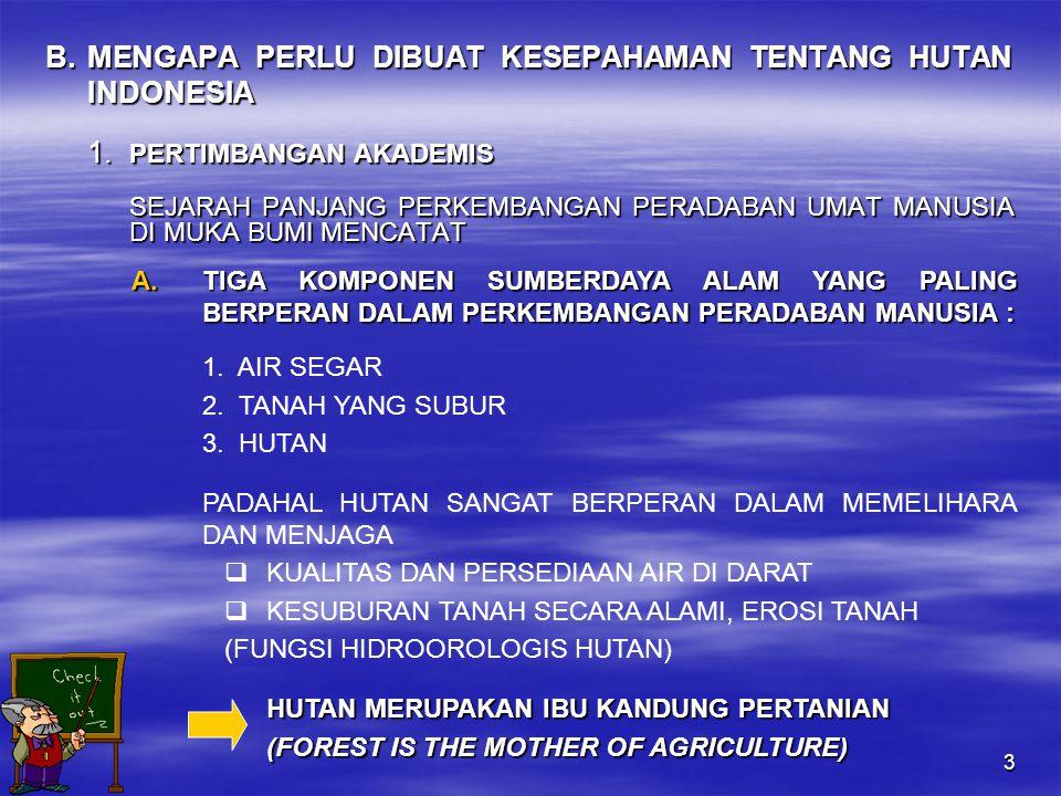 3 B. MENGAPA PERLU DIBUAT KESEPAHAMAN TENTANG HUTAN INDONESIA 1.