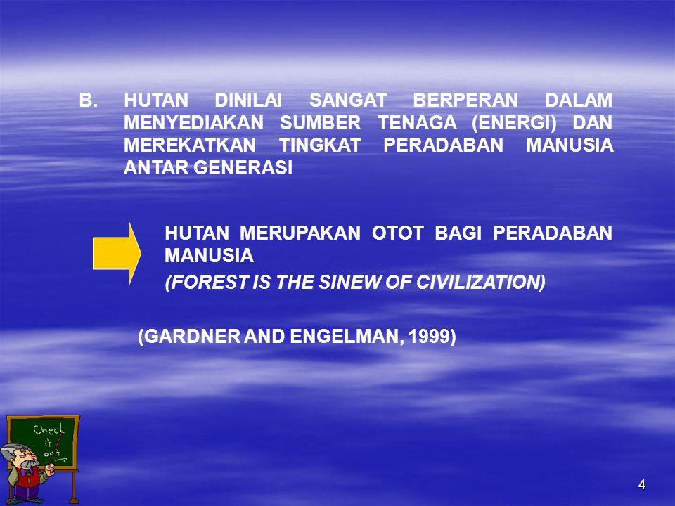 4 B.HUTAN DINILAI SANGAT BERPERAN DALAM MENYEDIAKAN SUMBER TENAGA (ENERGI) DAN MEREKATKAN TINGKAT PERADABAN MANUSIA ANTAR GENERASI HUTAN MERUPAKAN OTOT BAGI PERADABAN MANUSIA (FOREST IS THE SINEW OF CIVILIZATION) (GARDNER AND ENGELMAN, 1999)