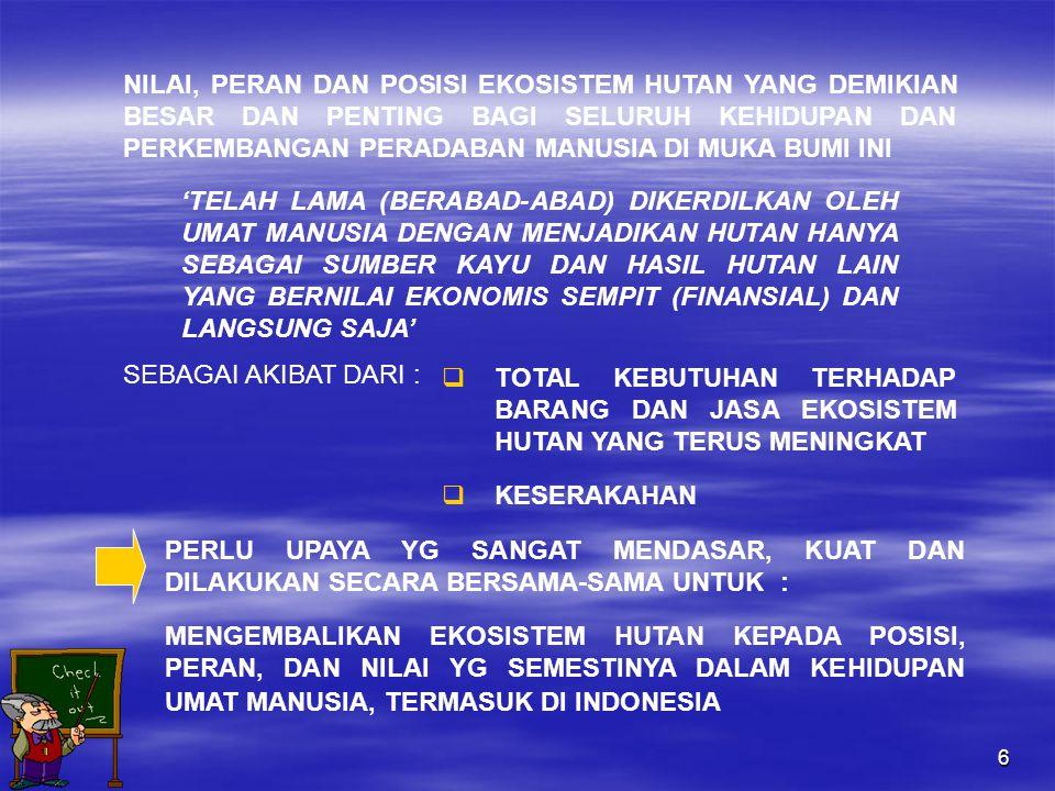 17  GAMBARAN PERAN HUTAN BAGI BANGSA INDONESIA DARI ZAMAN DAHULU, PADA SAAT INI, DAN DI MASA MENDATANG  GAMBARAN SECARA GARIS BESAR TENTANG LUAS, WUJUD DAN KEADAAN HUTAN INDONESIA  GAMBARAN KEADAAN PENGELOLAAN HUTAN INDONESIA MASA LAMPAU, AKIBAT YANG DITIMBULKAN DAN ARAH PENGELOLAAN KE DEPAN 4.TENTANG HUTAN KAMI ISI : 1)APAKAH BAB INI PERLU .