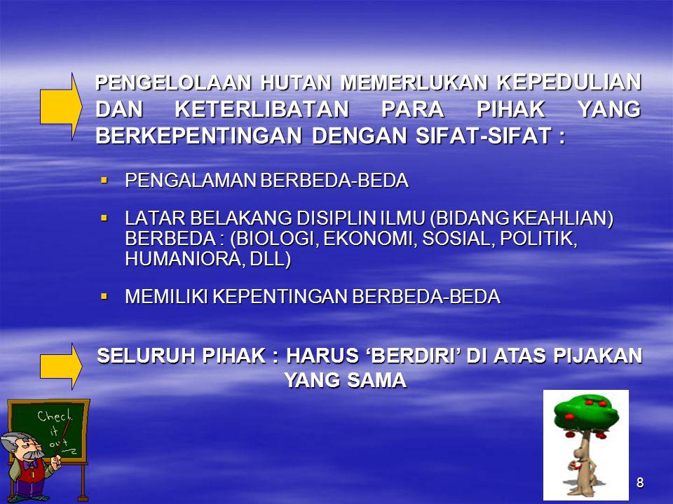 8 PENGELOLAAN HUTAN MEMERLUKAN K EPEDULIAN DAN KETERLIBATAN PARA PIHAK YANG BERKEPENTINGAN DENGAN SIFAT-SIFAT :  PENGALAMAN BERBEDA-BEDA  LATAR BELAKANG DISIPLIN ILMU (BIDANG KEAHLIAN) BERBEDA : (BIOLOGI, EKONOMI, SOSIAL, POLITIK, HUMANIORA, DLL)  MEMILIKI KEPENTINGAN BERBEDA-BEDA SELURUH PIHAK : HARUS 'BERDIRI' DI ATAS PIJAKAN YANG SAMA