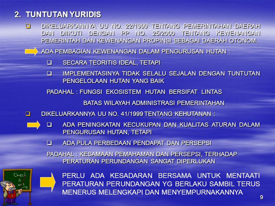 9 2.TUNTUTAN YURIDIS  DIKELUARKANNYA UU NO.