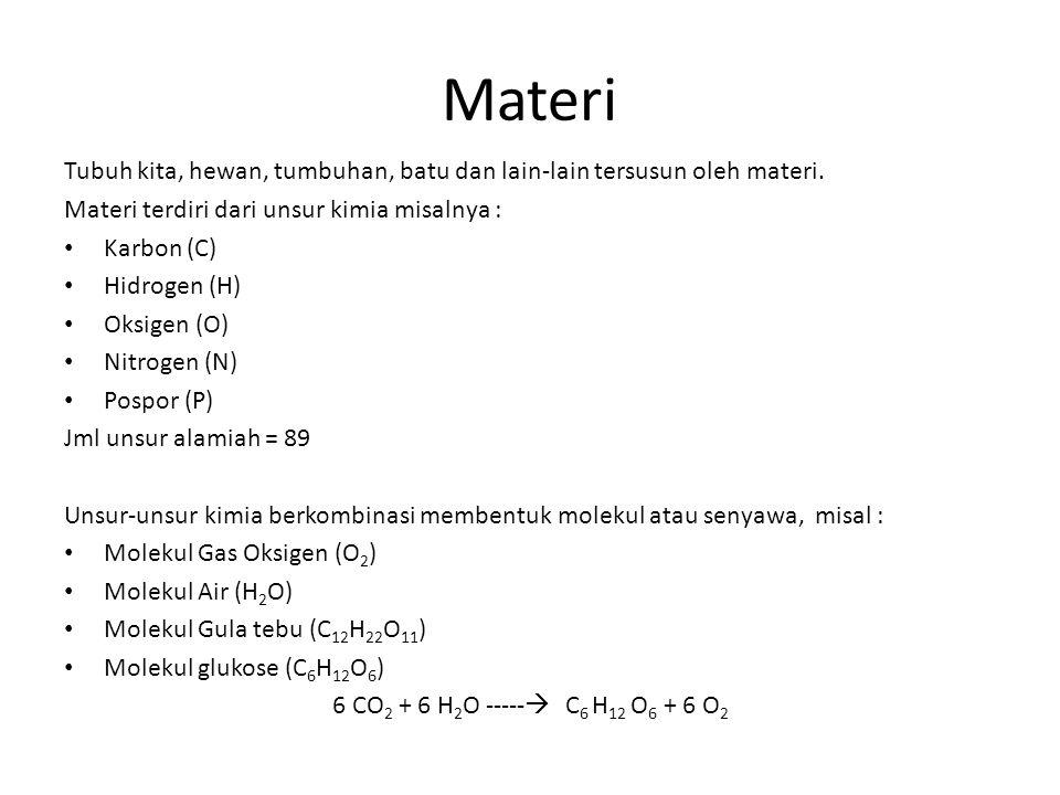 Materi Tubuh kita, hewan, tumbuhan, batu dan lain-lain tersusun oleh materi. Materi terdiri dari unsur kimia misalnya : Karbon (C) Hidrogen (H) Oksige