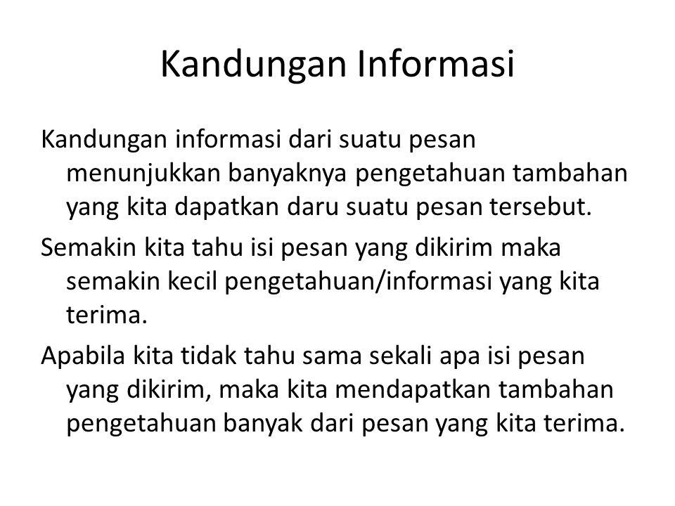 Kandungan Informasi Kandungan informasi dari suatu pesan menunjukkan banyaknya pengetahuan tambahan yang kita dapatkan daru suatu pesan tersebut. Sema