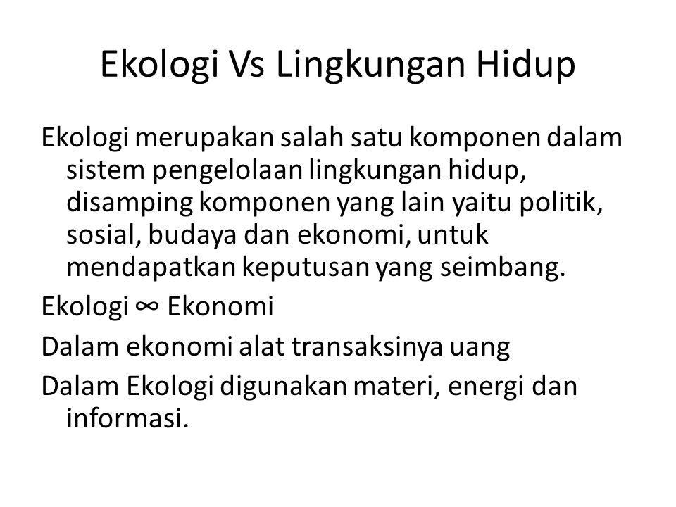 Ekologi Vs Lingkungan Hidup Ekologi merupakan salah satu komponen dalam sistem pengelolaan lingkungan hidup, disamping komponen yang lain yaitu politi