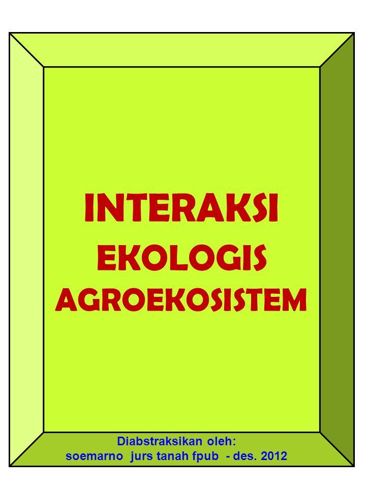 INTERAKSI EKOLOGIS AGROEKOSISTEM Diabstraksikan oleh: soemarno jurs tanah fpub - des. 2012