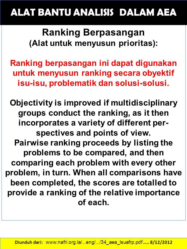 ALAT BANTU ANALISIS DALAM AEA Ranking Berpasangan (Alat untuk menyusun prioritas): Ranking berpasangan ini dapat digunakan untuk menyusun ranking seca