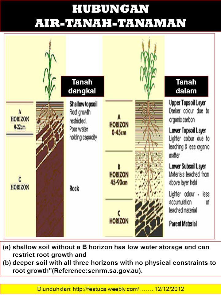 Diunduh dari: http://festuca.weebly.com/ ……. 12/12/2012 HUBUNGAN AIR-TANAH-TANAMAN (a)shallow soil without a B horizon has low water storage and can r