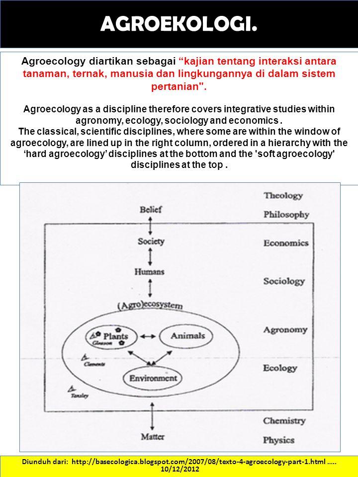 "Diunduh dari: http://basecologica.blogspot.com/2007/08/texto-4-agroecology-part-1.html ….. 10/12/2012 Agroecology diartikan sebagai ""kajian tentang in"