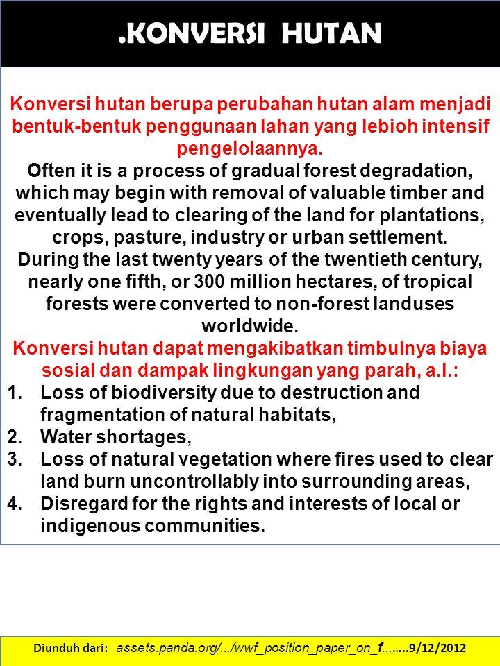 .KONVERSI HUTAN Diunduh dari: assets.panda.org/.../wwf_position_paper_on_f... …..9/12/2012 Konversi hutan berupa perubahan hutan alam menjadi bentuk-b