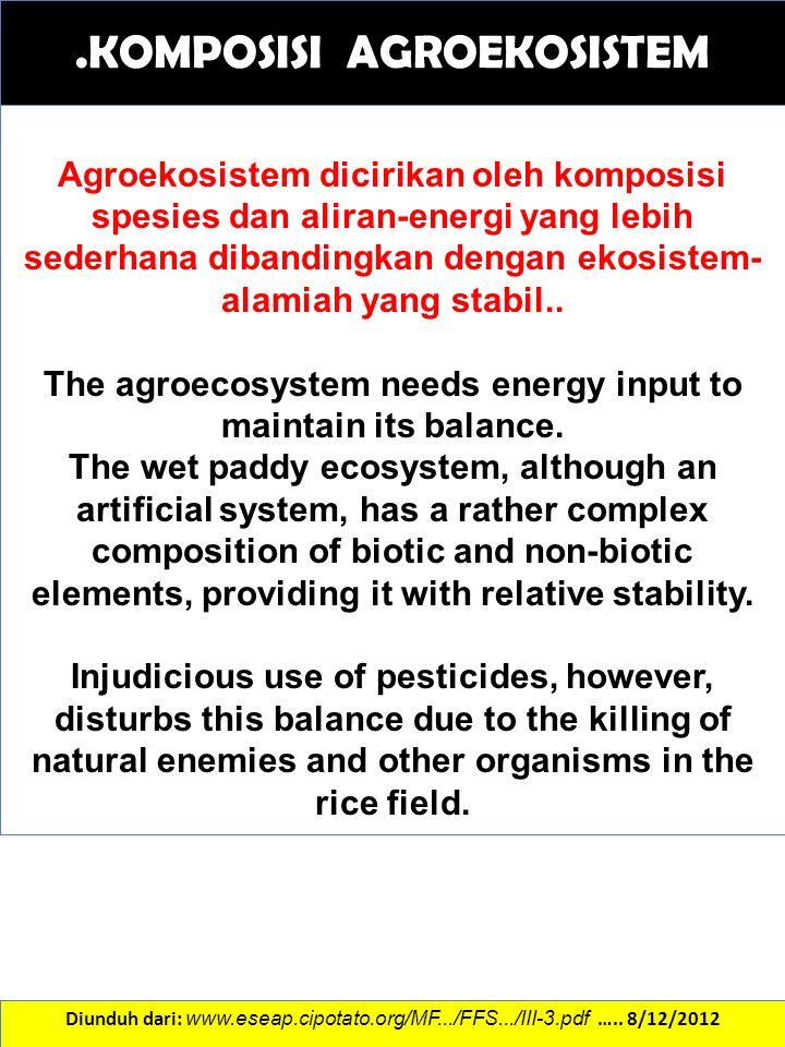 .KOMPOSISI AGROEKOSISTEM Diunduh dari: www.eseap.cipotato.org/MF.../FFS.../III-3.pdf ….. 8/12/2012 Agroekosistem dicirikan oleh komposisi spesies dan