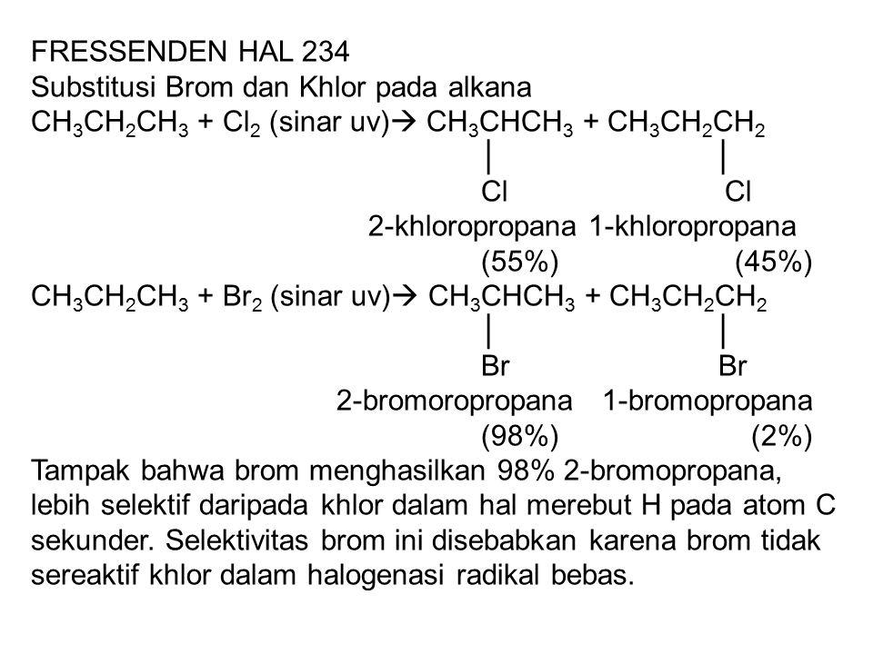 FRESSENDEN HAL 234 Substitusi Brom dan Khlor pada alkana CH 3 CH 2 CH 3 + Cl 2 (sinar uv)  CH 3 CHCH 3 + CH 3 CH 2 CH 2 │ │ Cl Cl 2-khloropropana 1-khloropropana (55%) (45%) CH 3 CH 2 CH 3 + Br 2 (sinar uv)  CH 3 CHCH 3 + CH 3 CH 2 CH 2 │ │ Br Br 2-bromoropropana 1-bromopropana (98%) (2%) Tampak bahwa brom menghasilkan 98% 2-bromopropana, lebih selektif daripada khlor dalam hal merebut H pada atom C sekunder.