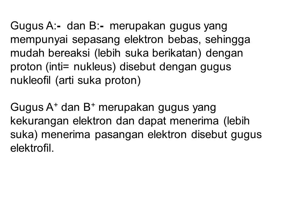Gugus A:- dan B:- merupakan gugus yang mempunyai sepasang elektron bebas, sehingga mudah bereaksi (lebih suka berikatan) dengan proton (inti= nukleus) disebut dengan gugus nukleofil (arti suka proton) Gugus A + dan B + merupakan gugus yang kekurangan elektron dan dapat menerima (lebih suka) menerima pasangan elektron disebut gugus elektrofil.