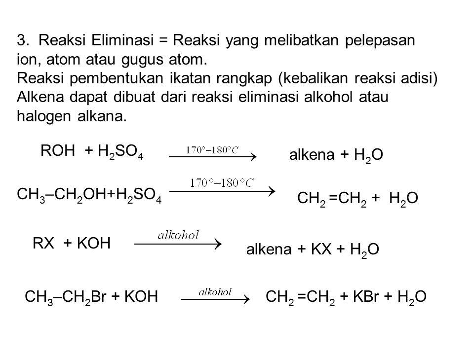 3.Reaksi Eliminasi = Reaksi yang melibatkan pelepasan ion, atom atau gugus atom.