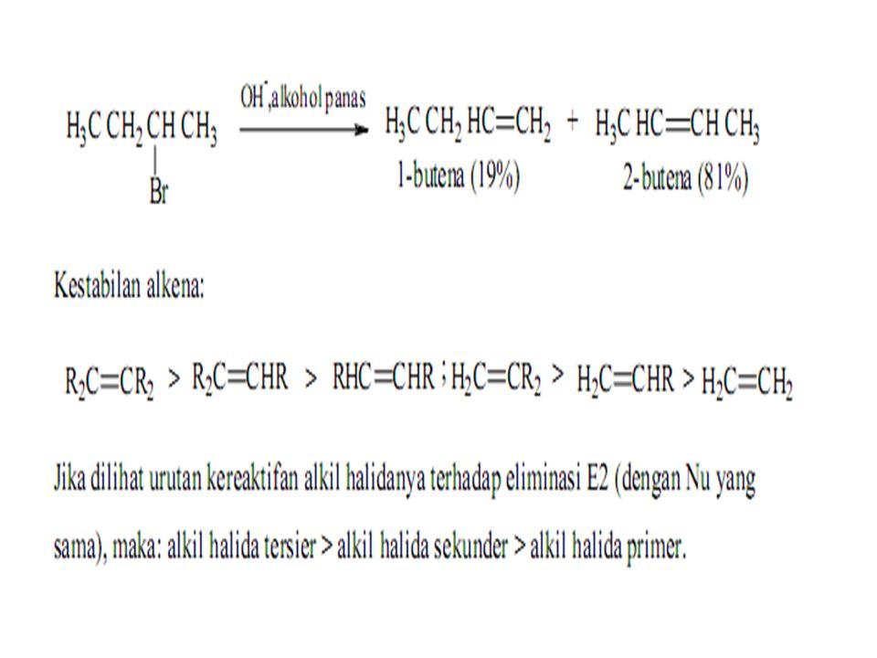 RX + KOH alkena + KX + H 2 O CH 3 –CH 2 Br + KOHCH 2 =CH 2 + KBr + H 2 O