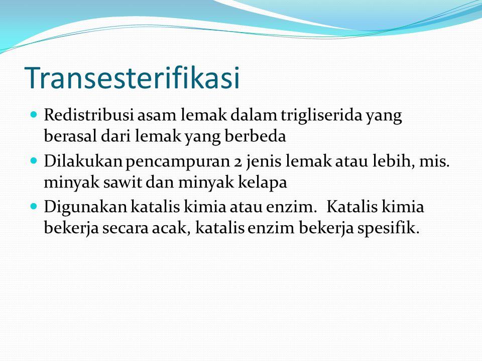 Transesterifikasi Redistribusi asam lemak dalam trigliserida yang berasal dari lemak yang berbeda Dilakukan pencampuran 2 jenis lemak atau lebih, mis.