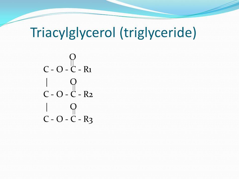Triacylglycerol (triglyceride) O C - O - C - R1   O C - O - C - R2   O C - O - C - R3